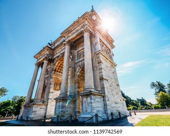 Arco della Pace known as Arch of Peace in Milan, Italy, built as part of Foro Bonaparte to celebrate Napoleon's victories. It is city gate of Milan located at center of Simplon Square in Milan, Italy