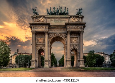 Arco della Pace, triumphal arch in Parco Sempione, Milan, Italy