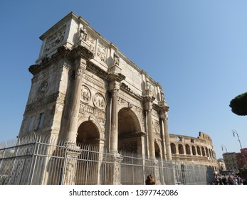 Arco di Costantino (meaning Arch of Constantine) and Colosseo (Coliseum) in Rome, Italy