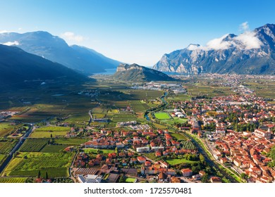 Arco Italian city. Beautiful view from the top of the Riva del Garda