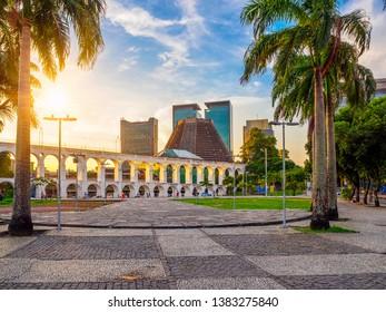 Arcos da Lapa (Lapa Arch) and Metropolitan Cathedral in Rio de Janeiro, Brazil