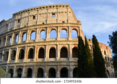 Arcs of Colosseo in Rome Italy without tourists with special sunlight