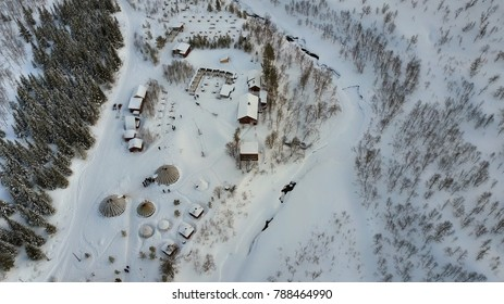 Arctic activity camp, winter scene aerial view