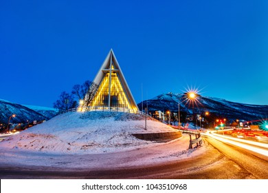 Arctic Cathedral church in Tromso Northern Norway at dusk twilight