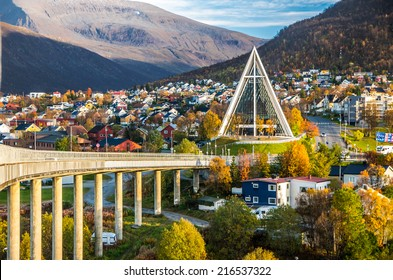 Arctic cathedral in Tromso city in northern, Norway - architecture background