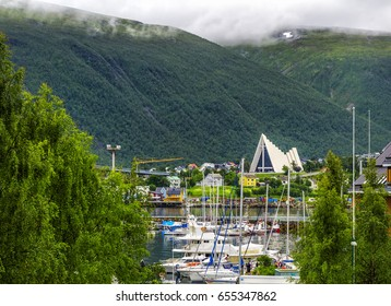 Arctic cathedral in Tromso city in northern Norway. Tromso is considered the northernmost city in the world with a population above 50,000.