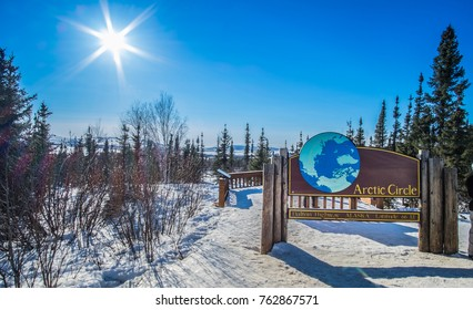 Arctic Circle Sign along the Dalton Hwy, Alaska. Artic Circle background
