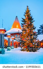 Arctic Circle street lamps at Santa Office at Santa Claus Village in Rovaniemi in Lapland in Finland.