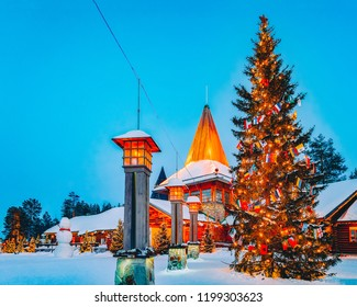 Arctic Circle street lamps in Santa Office of Santa Claus Village in Rovaniemi in Lapland in Finland.