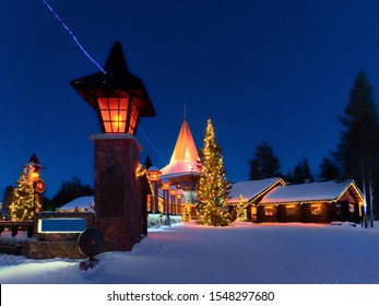 Arctic Circle street lanterns in Santa Office at Santa Claus Village, Rovaniemi, Lapland, Finland, in winter. Late in the evening