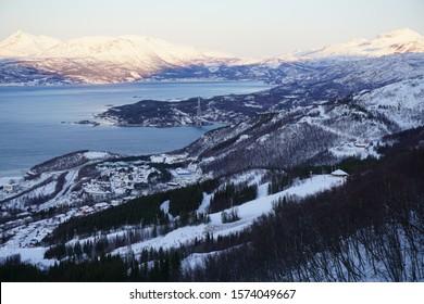 Arctic fjord in Narvik, Norway