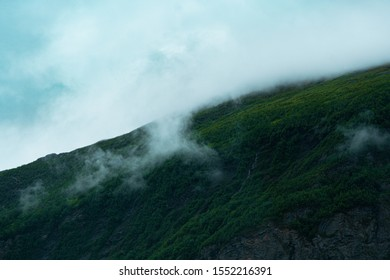arctic hill/fell/fjeld in finnish lapland, morning fog