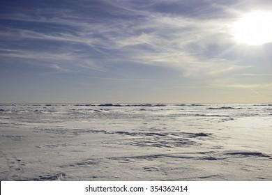 the arctic horizon landscape. snow plain and the sky