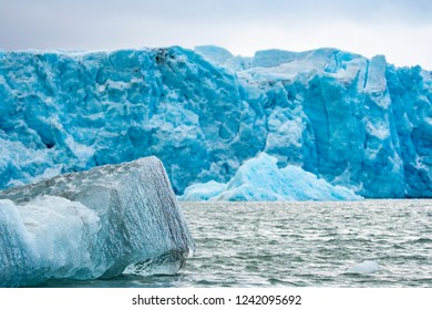 arctic ice patterns and formation in beautiful blues shades