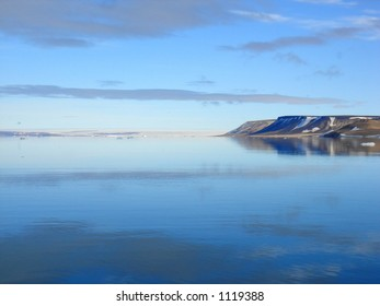 Arctic Island, sky and sea in Spitzbergen.