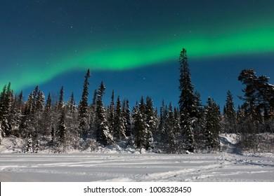 Arctic landscape: aurora borealis at Russian Lapland, Tuloma river near Murmansk. Green northern lights at night star sky.