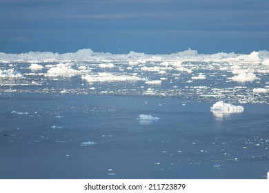 Arctic landscape in Greenland around Ilulissat with icebergs