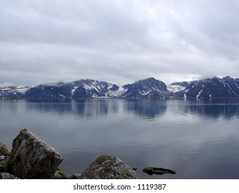 Arctic landscape with sea, Spitsbergen.