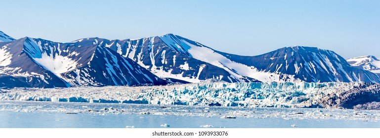 Arctic landscape,panoramic view to glacier and mountains with snow , Spitsbergen, Svalbard, Norway, wide format