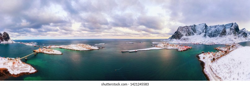 Arctic natural landscape. Panoramic view of village Reine on Lofotens in Norway, Scandinavia, Europe. Eye-popping panorama of authentic fishing village on Lofoten Islands Archipelago in Norway.