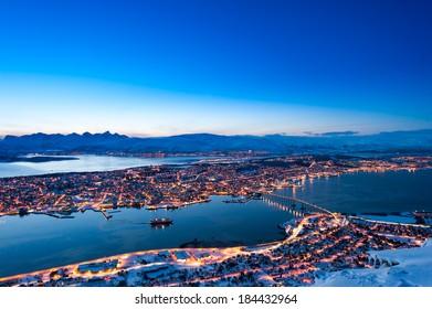 Arctic Norway, Tromso City Skyline Aerial View.