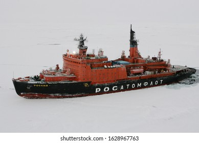 The Arctic Ocean - September 27, 2011: Russian nuclear-powered icebreaker Rossiya (Russia) is seen during its trip to the Russian drift station