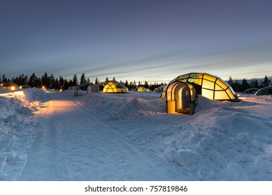 ARCTIC RESORT KAKSLAUTTANEN, LAPLAND, FINLAND - April 10th 2017, Glass igloos at the KAKSLAUTTANEN Arctic Resort