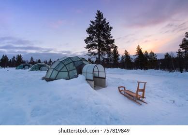 ARCTIC RESORT KAKSLAUTTANEN, LAPLAND, FINLAND - April 10th 2017, Glass igloos at the KAKSLAUTTANEN Arctic Resort