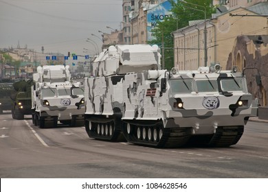 Arctic surface-to-air missile system Tor- (Gauntlet). Moscow / Russia - May 6, 2018: rehearsal of the parade dedicated to victory in the Second World War. A heavy military vehicle rides through the st