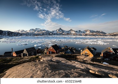 Arctic village by the sea