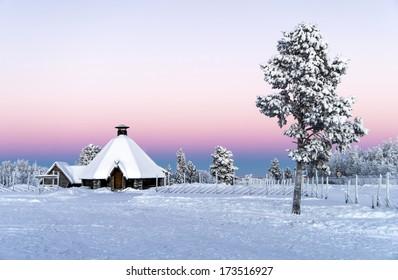 Arctic Winter Wonderland: Sunset at Kiruna near Abisko, Sweden Christmas / Winter / Holiday / Scandinavia / Sweden / Finland / Norway / Alaska / Canada Background - Winter Wonderland