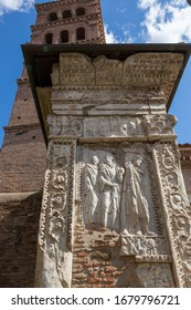 The Arcus Argentariorum (Arch of the Money-Changers; Arco degli Argentari), is an ancient Roman arch that was partly incorporated in the church of San Giorgio al Velabro in Rome, Italy