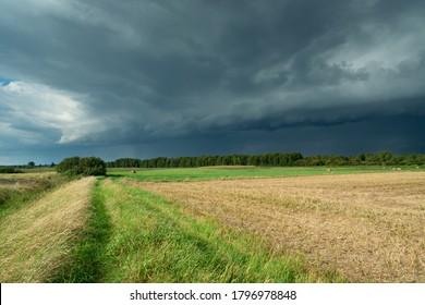 Arcus cloud over fields, Czulczyce in eastern Poland