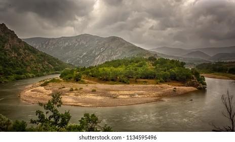 Arda river near Madzharovo city, Bulgaria