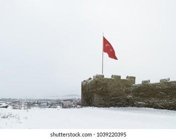 Ardahan Castle and Turkish Flag