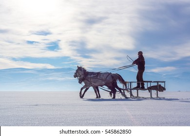 Ardahan, Turkey - February 14, 2014: Sleigh Pulled by a Horse in Lake Frozen Cildir. Traditional Turkish winter fun.