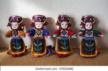 Ardahan, Turkey - January 17, 2017: Traditional hand made Damal dolls by Fidan Atmaca in Damal town of Ardahan, Turkey on January 17, 2017. Fidan Atmaca is the last master of Damal dolls.