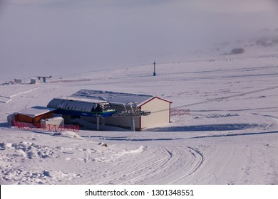 ARDAHAN/TURKEY - JANUARY, 14, 2019: Ski facilities in the region of. Are located at the meeting point of Eastern Anatolia, Black Sea and Caucasus. Yalnizcam Mountain, Ardahan.
