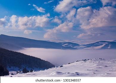 ARDAHAN/TURKEY - JANUARY, 14, 2019: Snow and fog only. Yalnizcam Mountain, Ardahan.