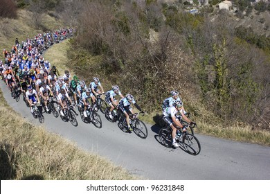 "ARDECHE, FRANCE - FEB 26: Professional racing cyclists riding UCI Europ TOUR ""LES BOUCLES DU SUD ARDECHE"". Remi Pauriol wins the race on February 26, 2012 in Sampzon Rock, Ardeche, France."
