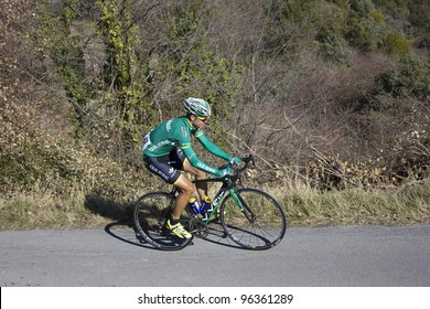 "ARDECHE, FRANCE - FEB 26: Professional cyclist Francesco Lasca riding UCI Europ TOUR ""LES BOUCLES DU SUD ARDECHE"". Remi Pauriol wins the race on February 26, 2012 in Sampzon Rock, Ardeche, France."