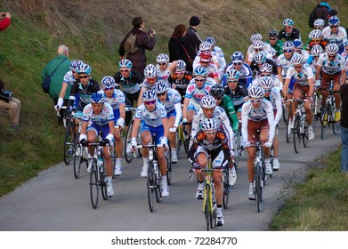 "ARDECHE, FRANCE - FEB 27: Professional racing cyclists ride UCI Europ TOUR ""LES BOUCLES DU SUD ARDECHE"" on February 27, 2011 in Sampzon Rock, Ardeche, France."