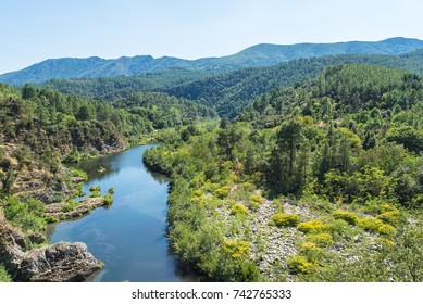 Ardeche, gorges, beautiful touristic landscape with the river