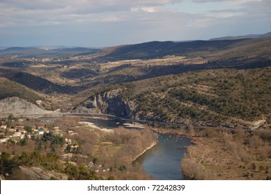 Ardeche river, landscape south of france