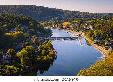 Ardennes, Belgium. Belgian countryside landscape with river meuse. Wallonian town Riviere and Godinne. River Meuse valley in hills near Dinant and Namur. Nature Ardennes region, Wallonia, Belgium.