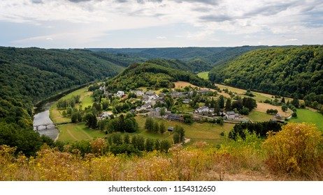 Ardennes, Belgium. Frahan village seen from panorama viewpoint at Rochehaut. Small town Frahan surrounded by the river Semois. Countryside forest on hills near Bouillon, Luxembourg province, Belgium.