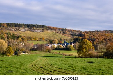 Ardennes, Belgium. The picturesque countryside in Vaucelles near Doische in Ardennes, Wallonia, Belgium. Village or small town in forest. Fall or Autumn season.
