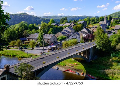 Ardennes. Panorama view on the village of Membre near Bohan with bridge across the Semois river. Ardennes, Belgium.