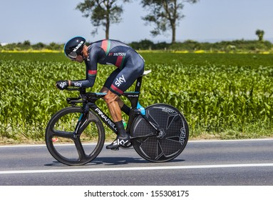 ARDEVON,FRANCE-JUL 10:The Belarusian cyclist Kanstantsin Siutsou from Team Sky cycling during the the stage 11 (time trial Avranches -Mont Saint Michel) of Le Tour de France on July 10, 2013