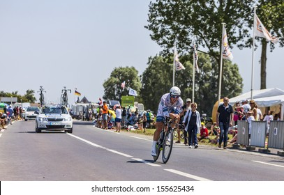 ARDEVON,FRANCE-JUL 10:The German cyclist John Degenkolb from  Argos-Shimano Team cycling during the stage 11(time trial Avranches -Mont Saint Michel) of Le Tour de France on July 10, 2013